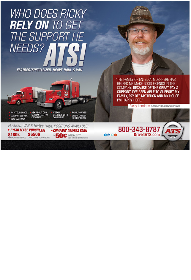 Big Rig Lease Ad. Now hiring Drivers running Big Rigs as Owner Operators, Company Drivers and Lease-Purchase Drivers in Flatbed/Specialized, Heavy Haul and Vans/Pad Wrap.