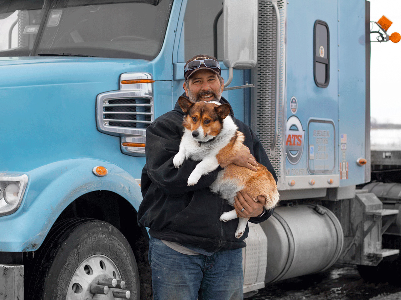 Truck Driver with Dog